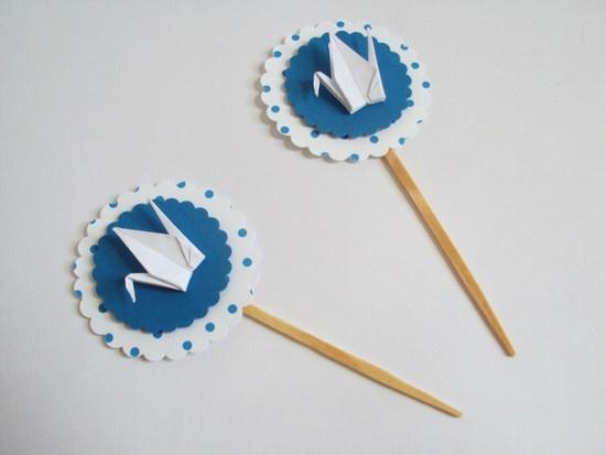 topper M || tsuru * azul escuro - Sakura Origami & Acessórios