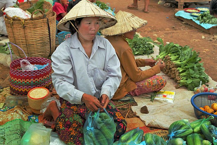 Women Sell Produce at Market in Pakse, Southern Laos