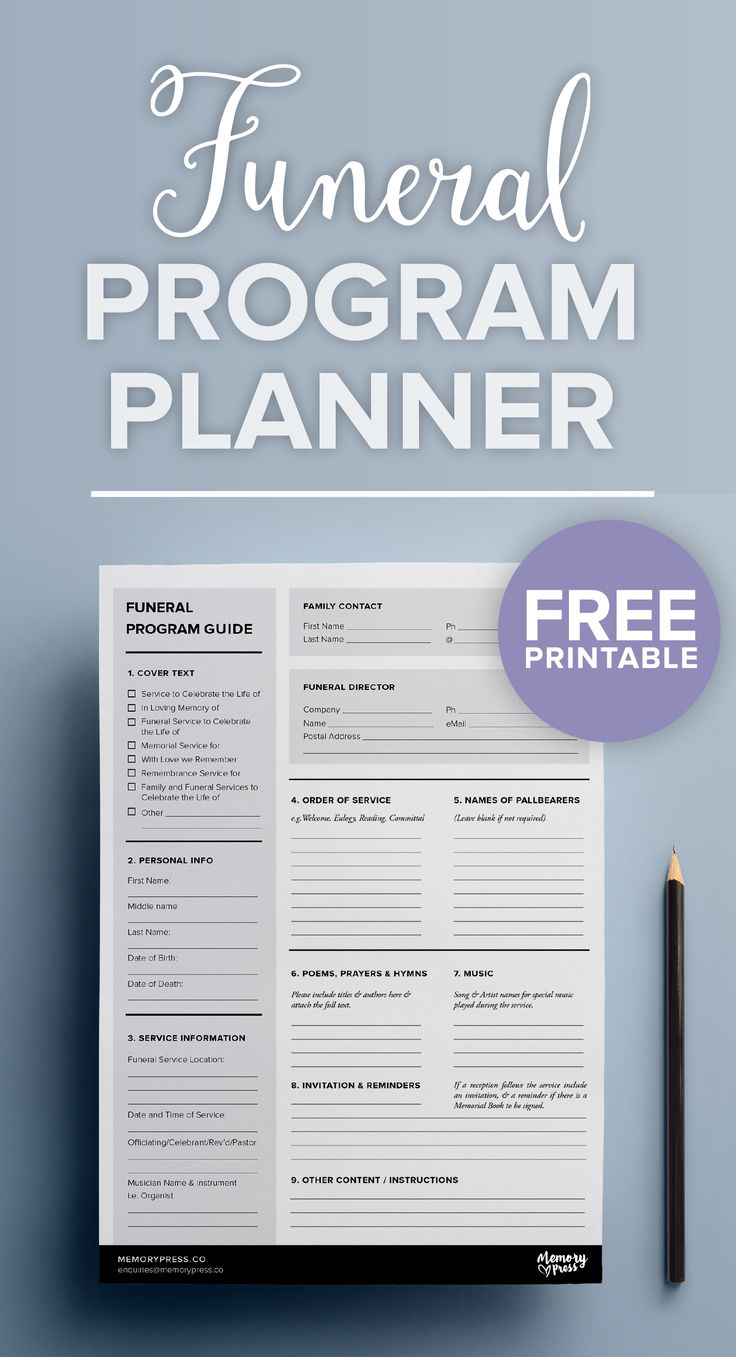 A FREE downloadable/printable PDF to help you in planning a funeral program. Easy one click download. By Memory Press, creators of bespoke funeral programs.