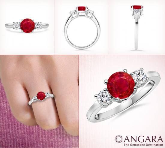 Angara Camber Three Stone Ruby and Diamond Ring in 14k Yellow Gold AYZjlz3