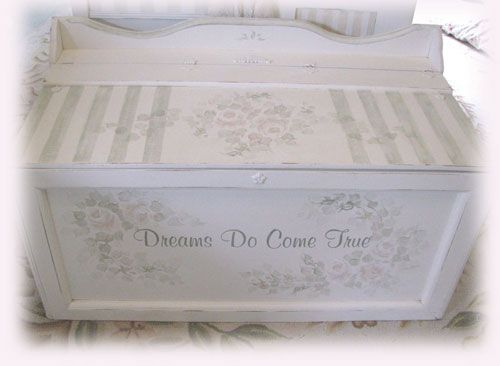 Trunk Hope Chest-shabby,chic,beach,cottage,vintage,antique,white,distressed,furn…