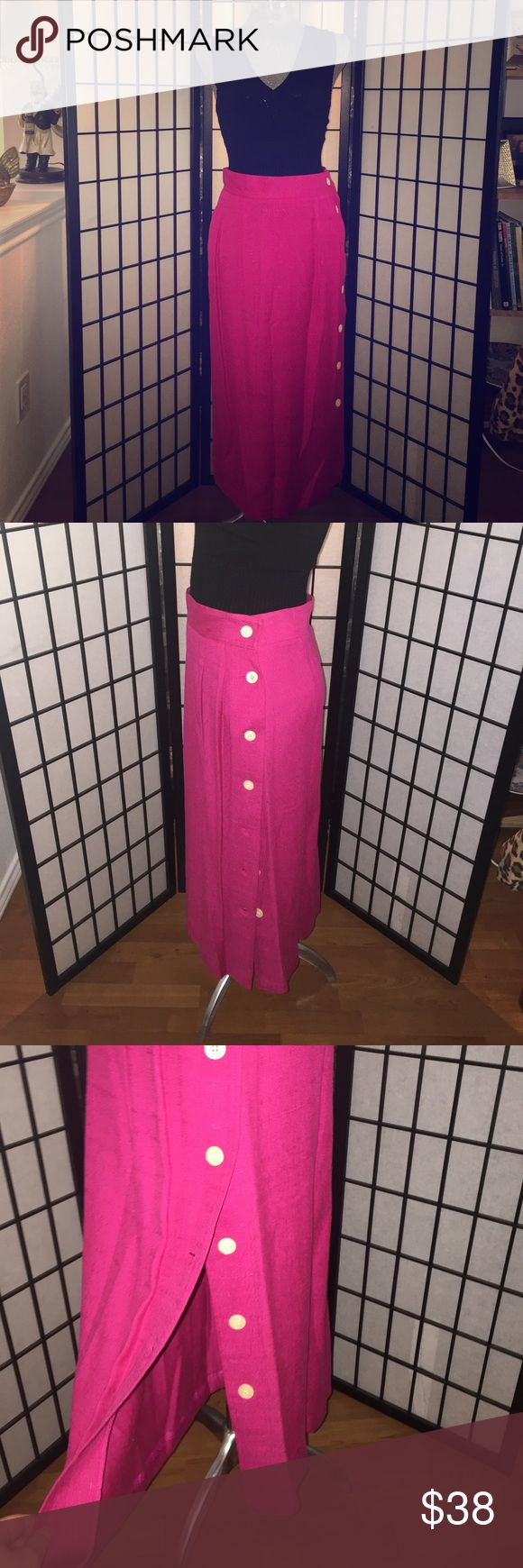 """Gorgeous Vintage Pink Long Button Down Linen Skirt Authentic Vintage w Tags. Never Worn. This color is Fab! Beautiful magenta with white pearlescent buttons down the left side of skirt. Made by Chaus. Size 12. 85% Viscose 15% Linen. Approx 31"""" Long 14.5"""" Across waist. Nonsmoking home. Chaus Skirts"""