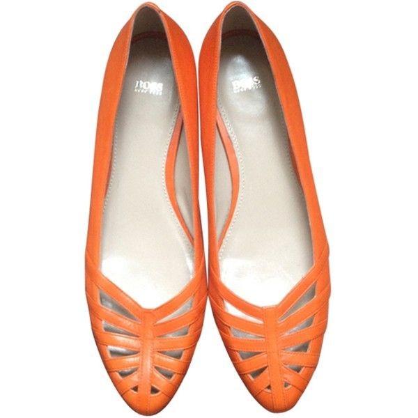 Pre-owned HUGO BOSS Orange Leather Ballet flats ($76) ❤ liked on Polyvore featuring shoes, flats, ballerina pumps, ballet flats, ballet shoes, leather shoes and leather flats