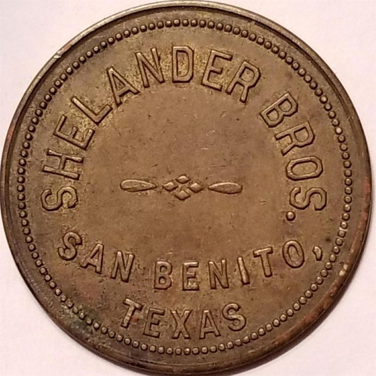 Trade Token SHELANDER BROS. SAN BENITO, TEXAS GOOD FOR 50 CENTS in MERCHANDISE
