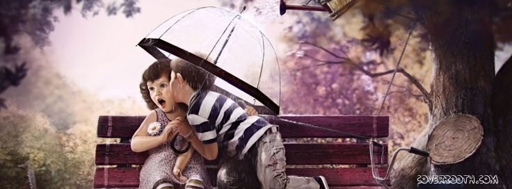 Wallpaper For Fb Profile: The Cute Boy And Girl Kissing Under Umbrella Stunning