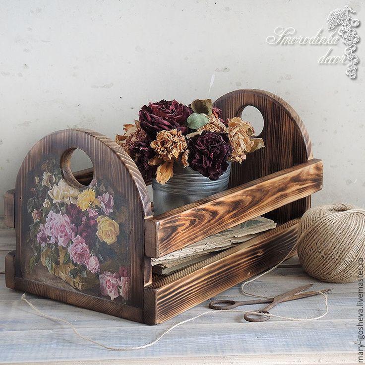 Купить Интерьерный ящик из массива сосны Винтажные розы - ящик, ящик для хранения, ящик из дерева