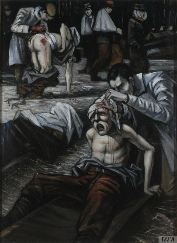 'The Doctor', WW1, 1916, by  C R W Nevinson. The setting is the 'Shambles' - old English term for a slaughter-house - a covered good yard outside Dunkirk where wounded soldiers were treated. They were deposited here on arrival from the Front before medical facilities were properly organised to cope with the enormous flood of injured men. Nevinson's first job as a volunteer with the Red Cross was to tend the dying men. © IWM (Art.IWM ART 725)