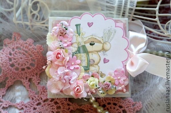 Купить Коробочка с открыткой - коробочка конверт денежный подарок - розовый, коробочка для денег, денежный подарок
