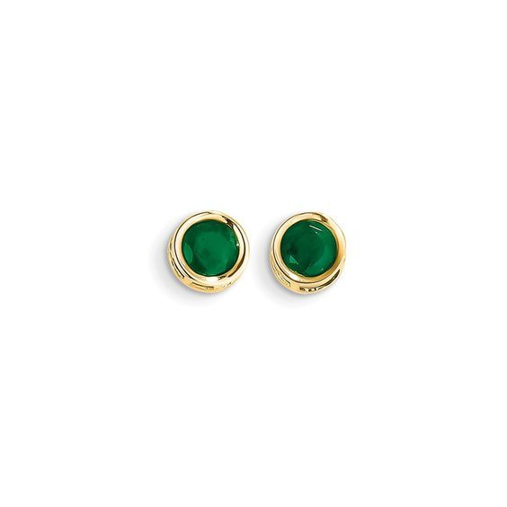 http://rubies.work/0011-blue-sapphire/ 14k 5mm Bezel Emerald Stud Earrings Attributes Polished