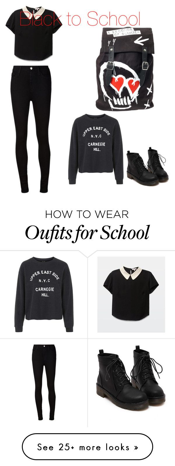 """Black to School"" by snow21white on Polyvore featuring AG Adriano Goldschmied and Topshop"