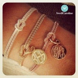 Sophisticated and stunning, these perfectly Swell bracelets are the most luxurious way to personalize. Fabricated in Italy from fine sterling silver and plated with a thick coating of shiny 14kt gold or rose gold and individually engraved here in Atlanta. When engraved, your monogram will shine through the gold in sterling silver to create the most stunning effect. The details: The monogrammed disc measures a demure half inch in diameter and is affixed to a square knot in the bracelet. The…