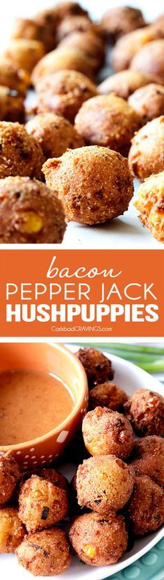 EASY Game Day/ANYDAY Bacon, Pepper Jack Hushpuppies with a crispy, golden outside and soft, cornbread inside dunked in the most tantalizing sweet and tangy Sweet Chili Dijon Sauce are UNREAL!  Everyone always begs me to bring these!  via /carlsbadcraving/