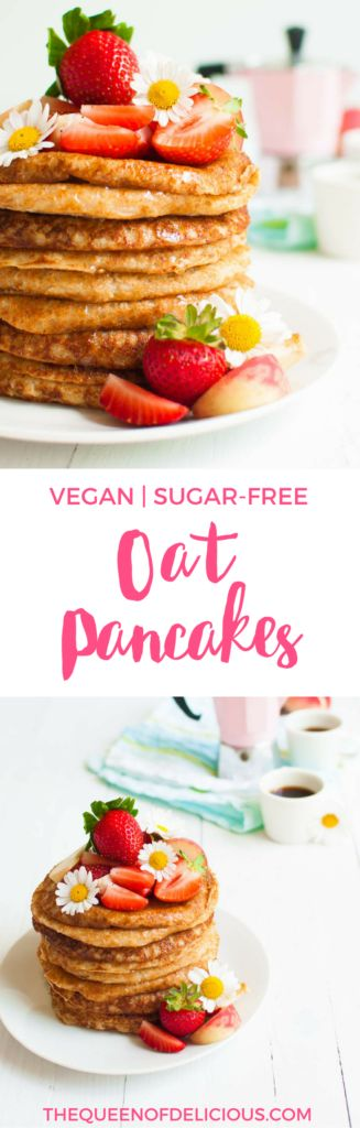Vegan Oat Pancakes | Only 4 ingredients | Sugar-free recipe | Healthy recipe | Glute-free