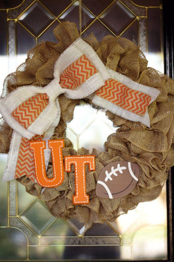 UT wreath  College wreath  Football wreath  by PeaceLoveBurlap www.peaceloveburlap.etsy.com