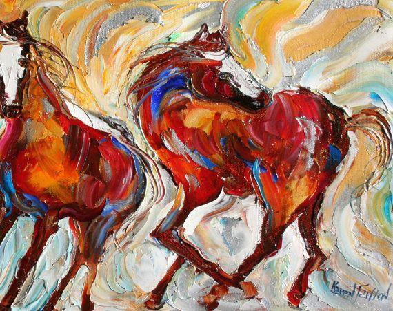 D'arte stampa - cavalli Mustang selvaggi - stampa da dipinto ad olio di Karen Tarlton - Impressionismo arte cavallo equino
