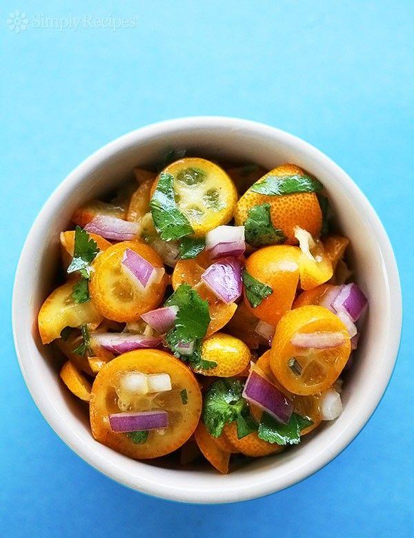 Kumquat Salsa ~ Delicious salsa for seafood made with tiny kumquats, cilantro, and red onion. ~ SimplyRecipes.com