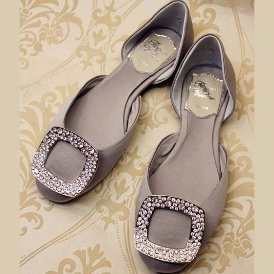 Roger Vivier Ballerina Crystal Buckle Flats Grey outlet - Cheap Roger Vivier Shoes Outlet on www.rogervivier-usa.com.