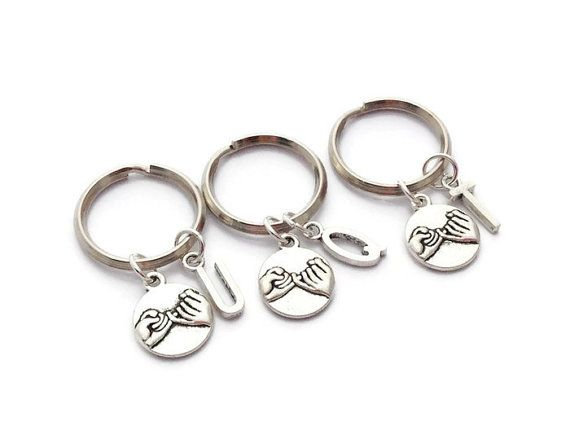 3 Best Friend Keychains, Moving Away Gift, Pinky Promise Keyrings, Besties Set, Best Friend Jewelry, Pinkie Promise, Sisters Xmas Present