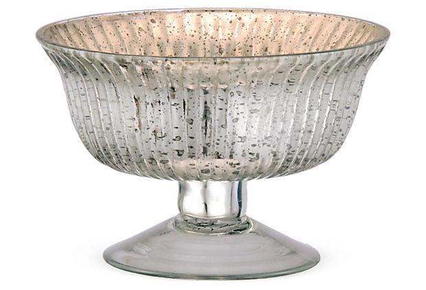 Antique Glass Bowl Small Silver Mercury Glass Mercury