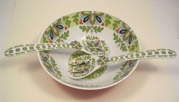 Cynthia Rowley Melamine Salad Bowl Mediterranean Design with Serving Spoons