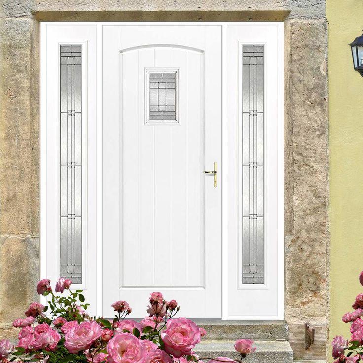 GRP White Cottage Glazed Composite Door with Two Sidelights. #externaldoor #frontdoor #entrance