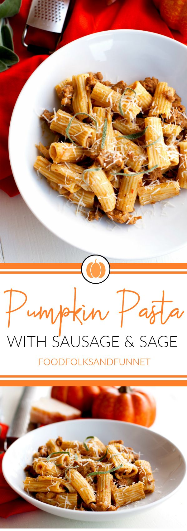 This Pumpkin Pasta with Sausage and Sage is the perfect comfort food dish for fall! It's creamy, spicy, and so flavorful. Plus it's on your table in just 25 minutes! Fall Dinner | Pumpkin Dinner |  Pumpkin Pasta Sauce