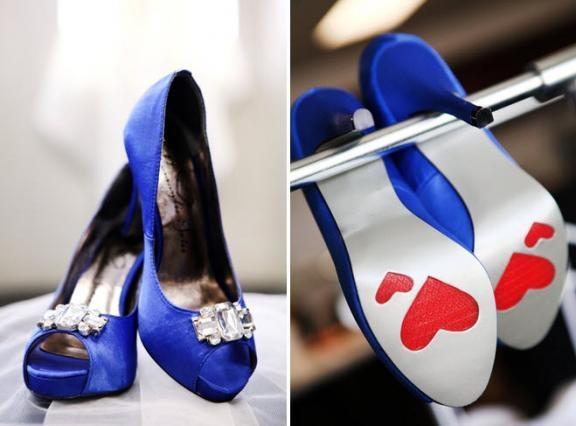 http://wedding-pictures.onewed.com/edgy/files/imagecache/576w/images/1042920/nautical-themed-wedding-red-white-blue-green-saphire-blue-peep-toe-bridal-heels-rhinestone-brooch-heart_0.jpg  #10 Jewish Wedding Film Inspiration  #themodernjewishwedding: Blue Wedding Heels, Ideas, Blue Satin, Red Heart, Blue Shoes, Blue Heels, Blue Weddings, Something Blue, Blue Wedding Shoes