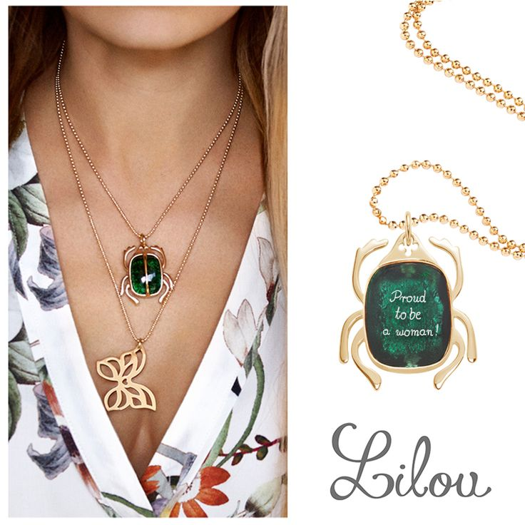 Wear the Scarab by Lilou, a beautiful and original necklace with Boheme crystal! Have the interior face engraved for a unique jewel! Available in silver and gold-plated on www.lilouparis.com #lilou #scarab #crystal #boheme #engraved #unique #beautiful