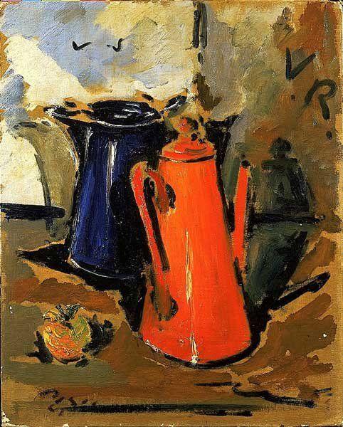 Filippo De Pisis, Le cocome (le caffettiere), 1942, olio su cartone telato, cm. 40x49,5