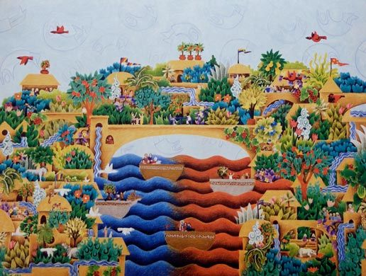 this pencil picture is part of one of Mandys early works called 'building bridges' - which is all about going from being barren to being abundant and growth. This is the abundant bridge and contains mandys family and friends. The original drawings of building bridges took seven years to complete
