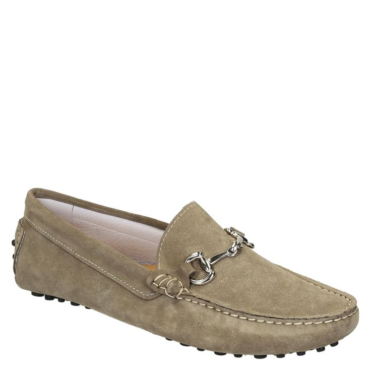 Men's driving moccasins in taupe suede leather handmade - Italian Boutique €194