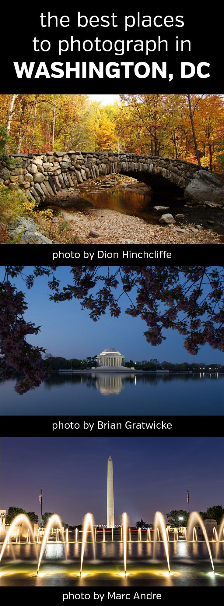 The Best Places to Photograph in Washington, District of Columbia (DC). Landscape, nature, photography, photos, travel, locations, destinations, planning, scouting, maps, Rock Creek Park, zoo, Jefferson Memorial, Tidal Basin, Washington Monument, Lincoln, Capitol Building, White House, National Arboretum, Dumbarton Oaks, #dc, #washingtondc, #photography, #landscapephotography
