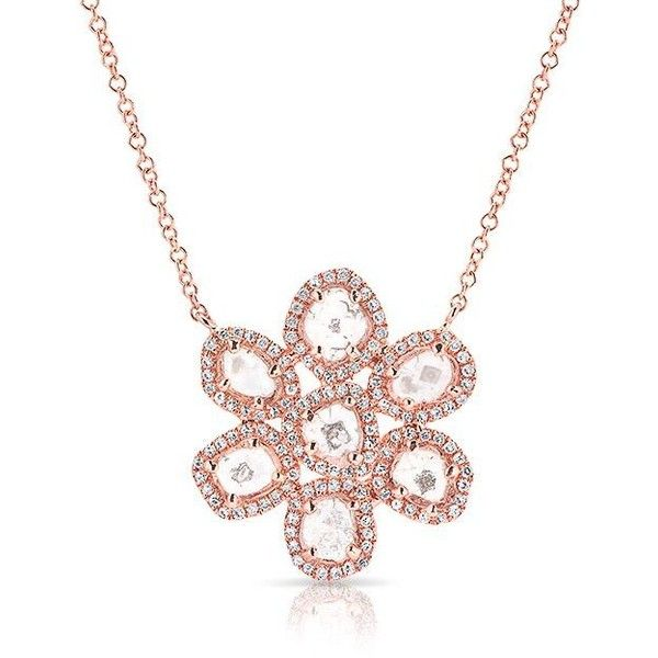 Anne Sisteron  14KT Rose Gold Diamond Slice Mae Small Flower Necklace (6.455 BRL) ❤ liked on Polyvore featuring jewelry, necklaces, rose, rose gold diamond pendant, rose flower necklace, rose gold necklace, chain necklace and rose gold diamond necklace