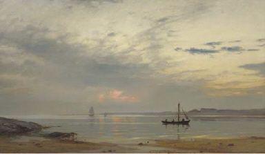 Amaldus Clarin Nielsen (1838-1932): Evening harmony in Norway, 1890