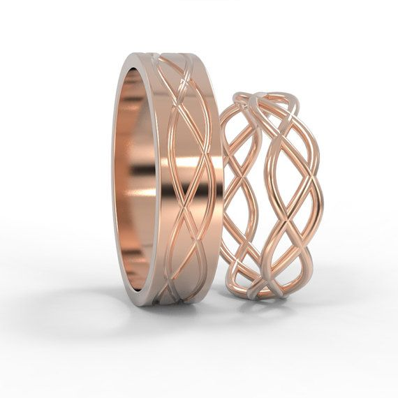 14K Rose Gold Celtic Wedding Rings Set | Handmade 14k rose gold Celtic wedding Rings | His and Hers Wedding Bands Set