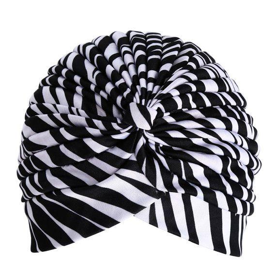 Frauen Schwarzweiss -Zebra-Tierdruck Turban-Hut