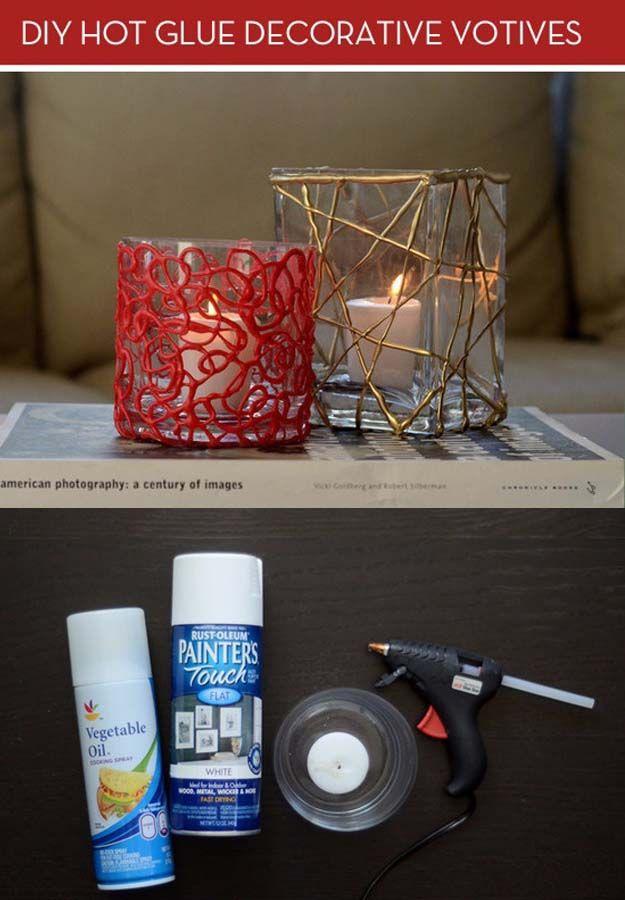 Fun Crafts To Do With A Hot Glue Gun | Best Hot Glue Gun Crafts, DIY Projects and Arts and Crafts Ideas Using Glue Gun Sticks |  DIY Colorful Votive Candles with Hot Glue  |   http://diyjoy.com/hot-glue-gun-crafts-ideas