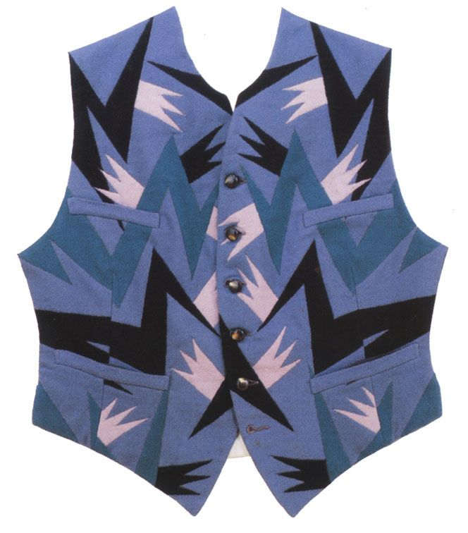 Vest designed by Fortunato Depero, an artist/designer associated with the Italian Futurists. He had an artisanal design business in his home town of Rovereto
