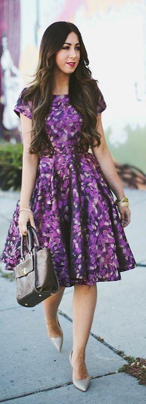 Purple Multi Printed Fit And Flare Mini Dress #mididress