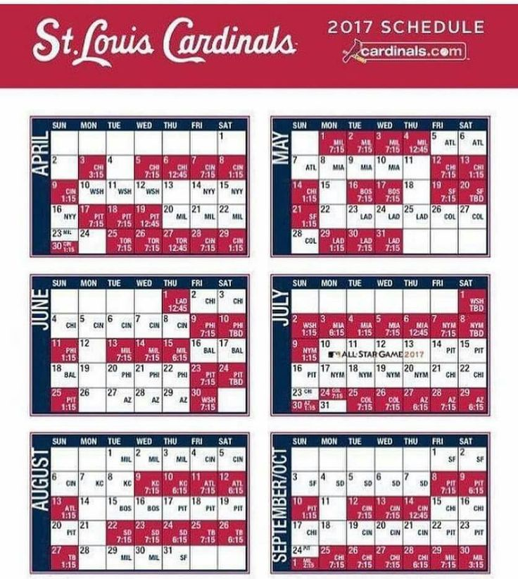 St. Louis Cardinals 2017 schedule