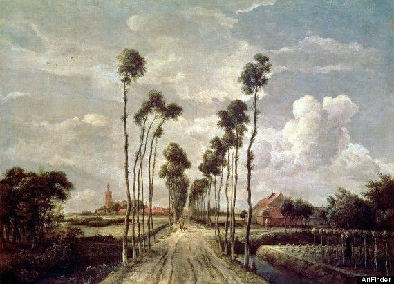 The Avenue at Middelharnis By Meindert Hobbema  (bapt. October 31, 1638 – December 7, 1709)