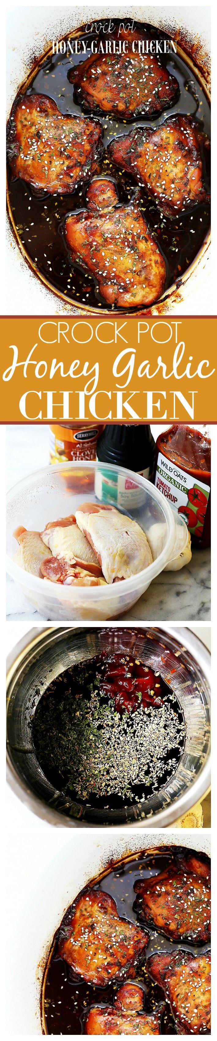 Crock Pot Honey-Garlic Chicken - Easy crock pot recipe for chicken thighs cooked in an incredibly delicious honey-garlic sauce.