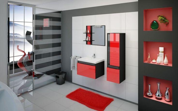 Ogniste dodtatki ożywiają wnętrze. Pomieszczenie idealne dla osób zdecydowanych i pewnych siebie. Energetyzujące połączenie czernii czerwieni.
