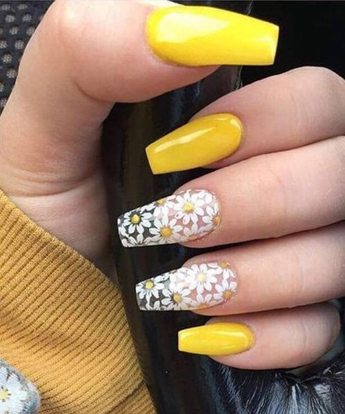White Daisy Flower Yellow Nail Designs To Look Perfect Fashion And