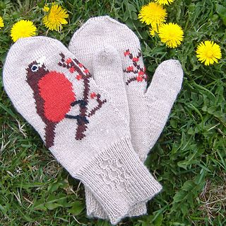 These mittens are worked flat, but the thumb is knit in the round.