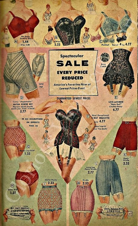 "...looks like '50's-60's women's ""foundation garments""... aren't you glad we have a totally different set of things we wear to torture ourselves with. hmmm... spanx! :-)"