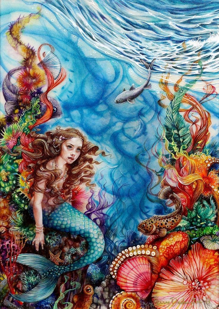 The Little Mermaid by Kerry Darlington, original mixed media and resin