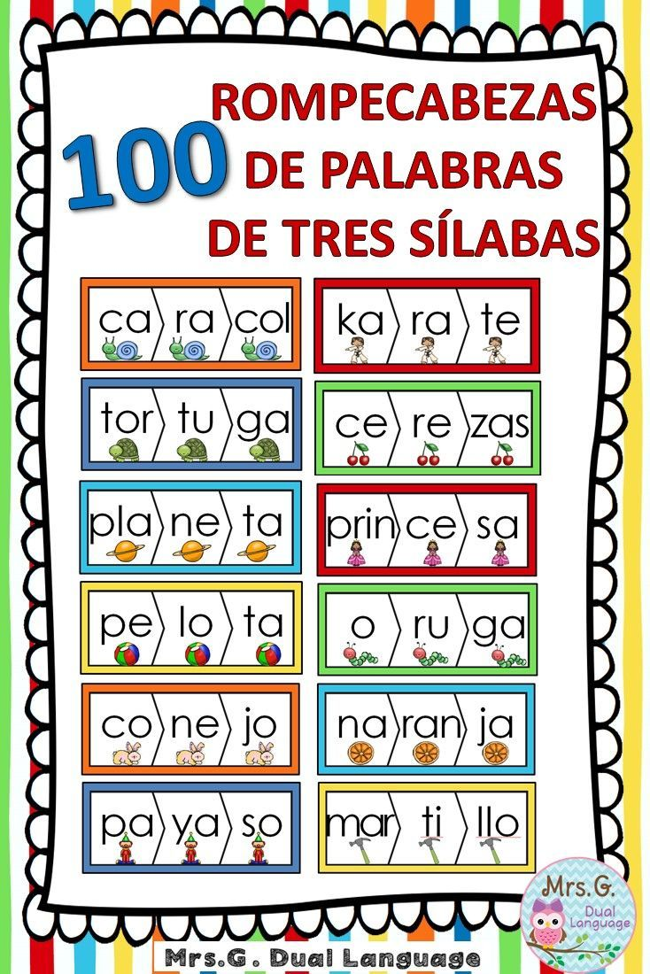 100 Spanish three syllables word puzzles