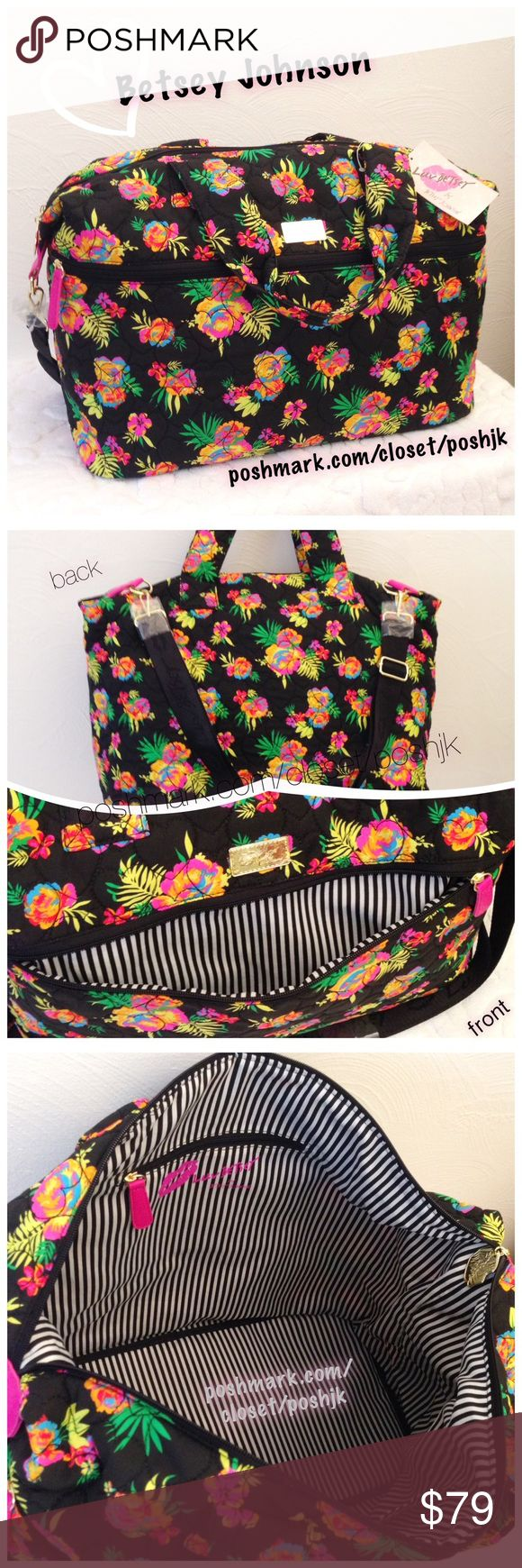 "NWT 💕Betsey Johnson Weekender Bag Brand New With Tag Betsey Johnson Weekender.  Gorgeous Heart-Stitched Quilted Floral. Dual Carry Handles. Removable Nylon Shoulder Strap in Betsey Logo has Adjustable Length.  Betsey's Signature Heart Nameplate & Zipper Pull.  Fully Lined.  Zip Closure.  Outside Front Zip Pocket.  Inside Zip Pocket, Open Pocket, & Pen Holders.  18"" Width, 9"" Depth, 12"" Height.  Retail value $88 + tax (Approx $94)  Top-Rated Seller.  Fast Shipper!  Thanks for Looking😊 🚫No…"