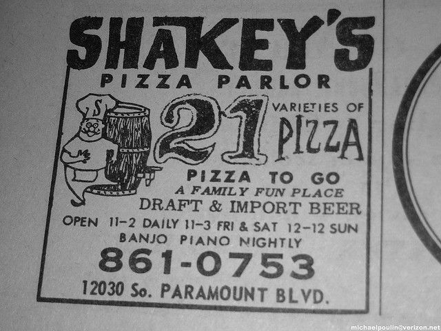 ever had Shakey's bunch o lunch! old 70's Shakey's Pizza Parlor advertisement ( Downey California )